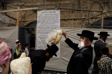 Ultra-Orthodox Jews perform the Kaparot ritual in Jerusalem