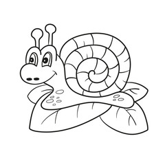Snail isolated line art, Page for coloring book, Hand drawn vector illustration for children