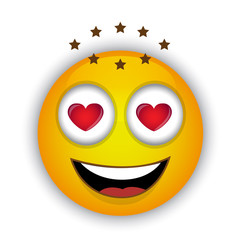 single yellow emoticon in the eyes of the heart happy and in love