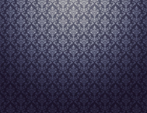 Black wallpaper with silver damask pattern