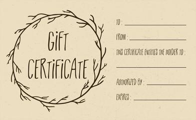 Tan Vector Textured Gift Certificate