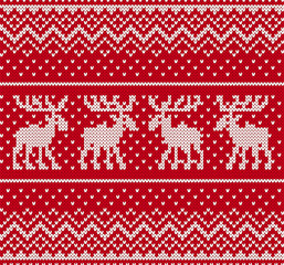 Christmas knit geometric ornament with moose. Knitted textured background. Knitted pattern for a sweater with elk.