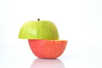 combine the top of a green apple and the bottom of a red one to get one apple