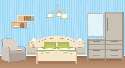 Bedroom interior design with bed, armchair, wall lamps and bedroom furniture. Domestic room design.