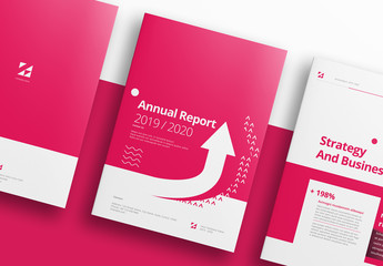 Pink and White Annual Report Layout