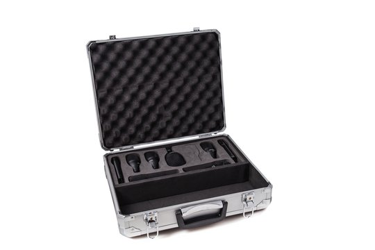 Aluminum protective case with foam cut outs for microphones