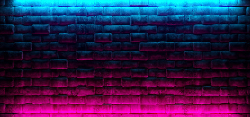 Modern Futuristic Neon Club Purple And Blue Lighted Empty Space Old Grunge Stone Bricked Detailed Wall In Room Wallpaper Background 3D Rendering