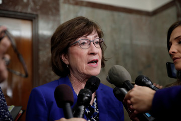 U.S. Senator Collins talks to reporters about the Supreme Court nomination of federal appeals court judge Brett Kavanaugh on Capitol Hill in Washington
