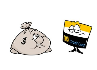 Sack money credit card business characters cartoon illustration isolated image