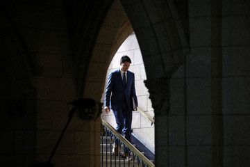 Canada's PM Trudeau walks to the House of Commons on Parliament Hill in Ottawa