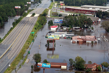Hurricane Florence damage seen from air in Lumberton, North Carolina