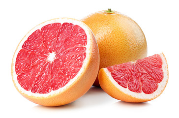 Whole and sliced grapefruit