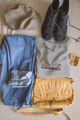 Autumn fashion clothing and accessory, outfit idea with sweater, boots and jeans
