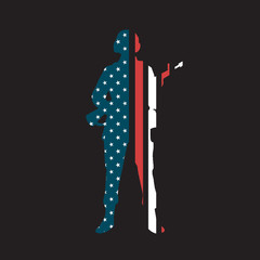 Soldier in Uniform Silhouette with American Flag Stars and Stripes Rifle AR-15