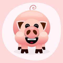 Pink cartoon pig smiling illustration on white background
