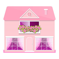 Pink house with balcony and roses vector
