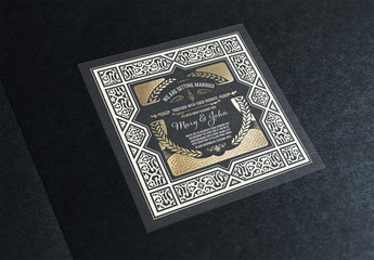 Wedding Invitation Layout with Ornamental Elements