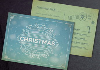 Vintage-Style Christmas Postcard Layout