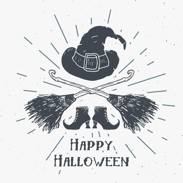 Halloween greeting card vintage label, Hand drawn sketch witch items, grunge textured retro badge, typography design t-shirt print, vector illustration