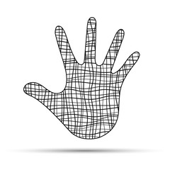Hand from curved black lines