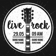 Vector Illustration poster for a live rock music festival with guitar and inscription in retro style. Template for flyers, banners, invitations, brochures and covers.