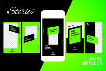 Editable Social media Stories vector template