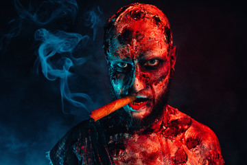 zombie smoking a cigar