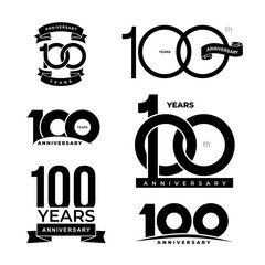 Set of 100 years anniversary icon. 100-th anniversary celebration logo. Design elements for birthday, invitation, wedding jubilee, postcards. Vector illustration. Isolated on white background.