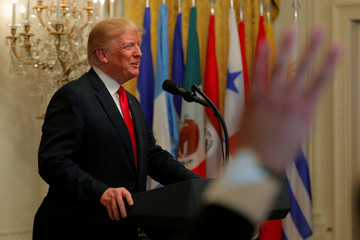 Trump speaks at a Hispanic Heritage Month celebration at the White House in Washington