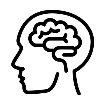 Human think brain icon. Outline human think brain vector icon for web design isolated on white background