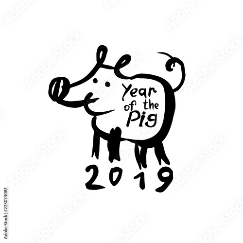 year of the pig 2019 funny hand drawn illustration with a cartoon