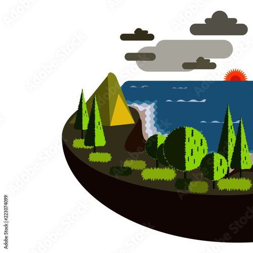 camping in the hill above the sea landscape, map, nature