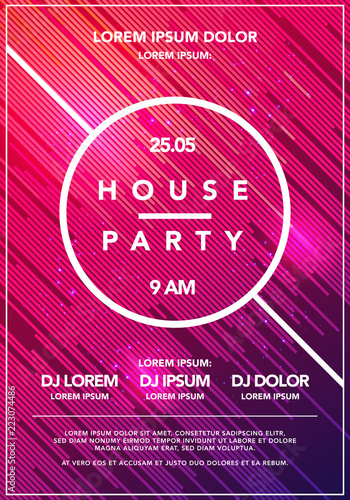 Vector Illustration Minimal house party poster  Futuristic