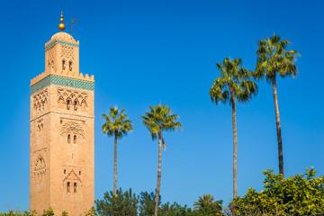 The minaret of the Koutoubia Mosque, Marrakesh, Morocco