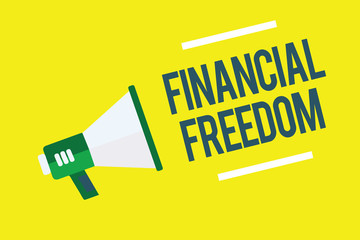 Writing note showing Financial Freedom. Business photo showcasing Having money Free from worry when it comes to cash flow Megaphone yellow background important message speaking loud