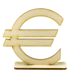 Wooden euro sign on white background