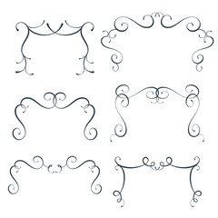 Vector flourish frames set, scroll border collection, curl decoration elements, vintage top divider decor