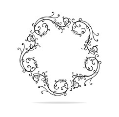 circle vector design element, beautiful fancy curls and swirls frame or border design, black ink lines. Can be placed on any color. Wedding design element.
