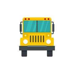 Front of school bus icon. Flat illustration of front of school bus vector icon for web design