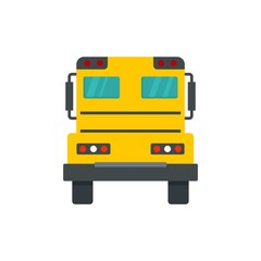 Back of school bus icon. Flat illustration of back of school bus vector icon for web design