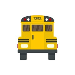 Back of old school bus icon. Flat illustration of back of old school bus vector icon for web design