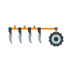 Tractor plow icon. Flat illustration of tractor plow vector icon for web design
