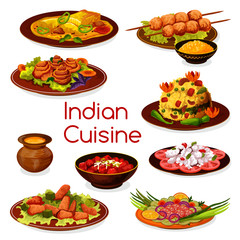 Indian cuisine vegetarian and meat dishes