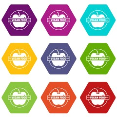 Vegan food icons 9 set coloful isolated on white for web