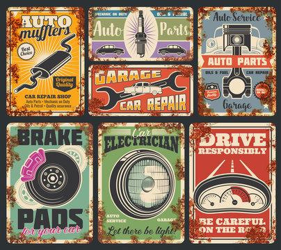 Garage car service rusty metal banners