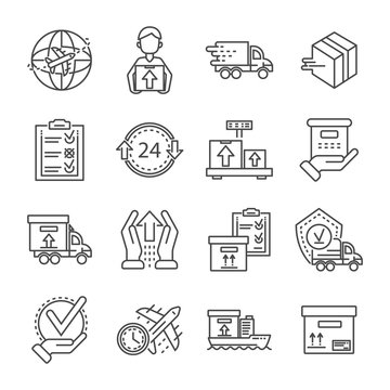 Parcel dellivery icon set. Outline set of parcel dellivery vector icons for web design isolated on white background