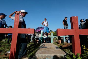 Relatives and friends take part in Bismark Martinez's funeral in Masaya