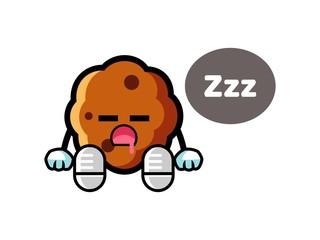 Cookie sleep mascot cartoon illustration