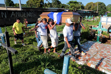 Relatives and friends carry the coffin containing the body of Bismark Martinez in Masaya