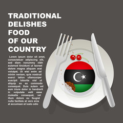 Traditional delicious food of Libya country poster. African national dessert. Vector illustration cake with national flag of Libya